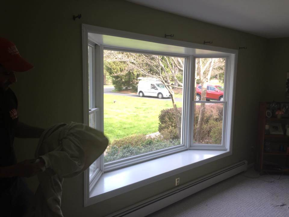 New front door replacement bay window in readington nj for Vinyl bay window